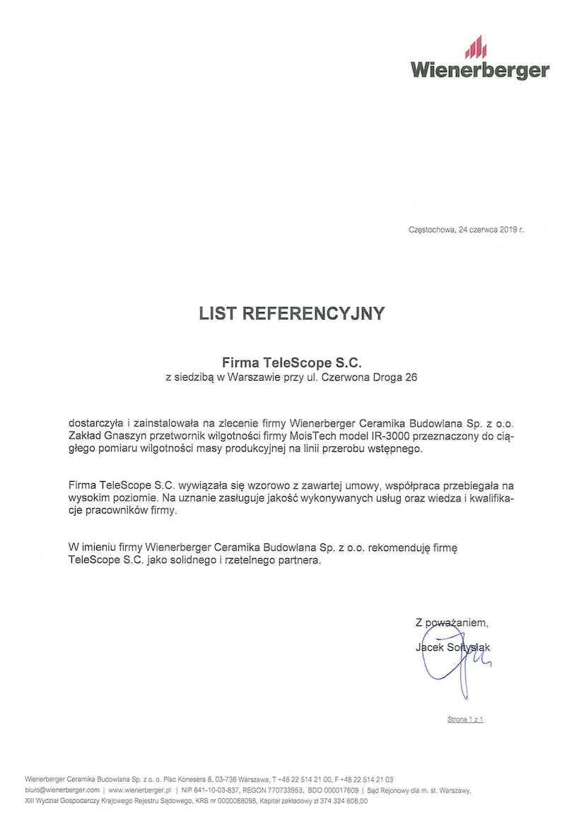 List referencyjny Wienerberger