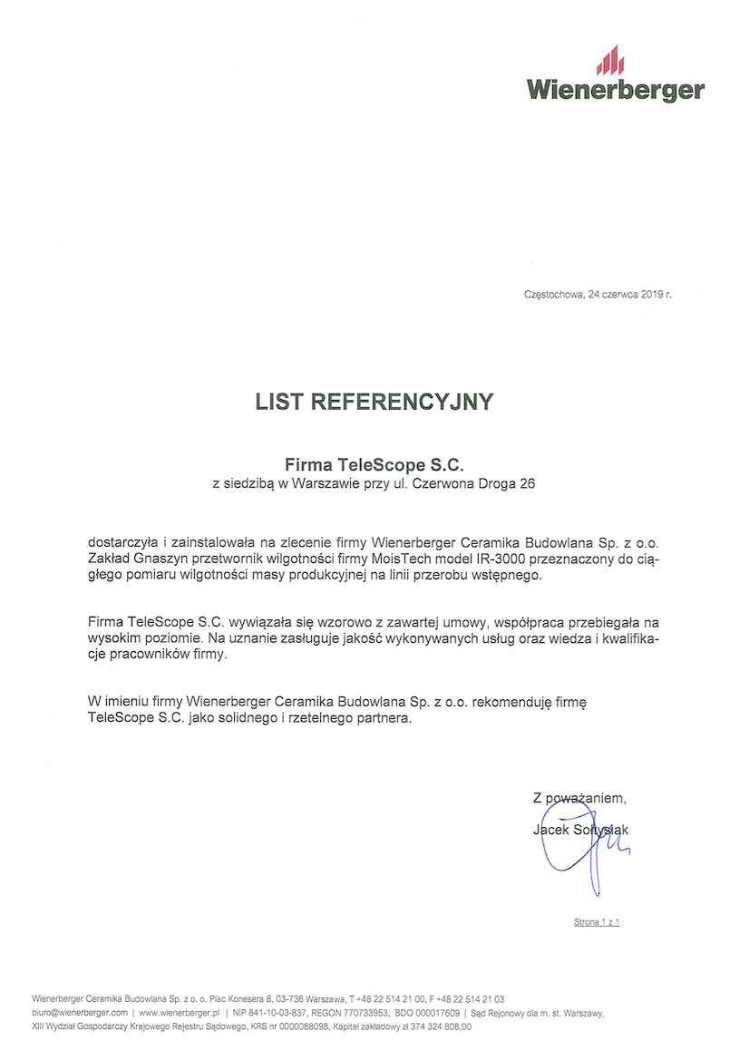 List referencyjny Wienerberger